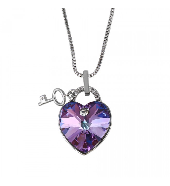 Позолочене кольє з кристалами SWAROVSKI heart key