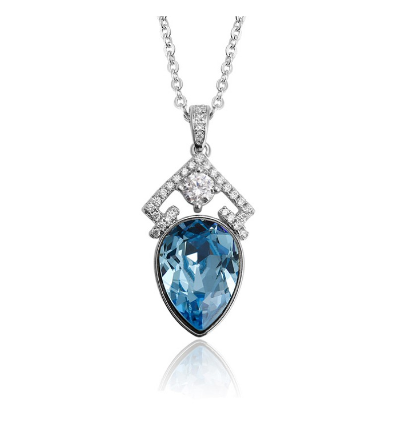 Позолочене кольє з кристалами SWAROVSKI drop blue