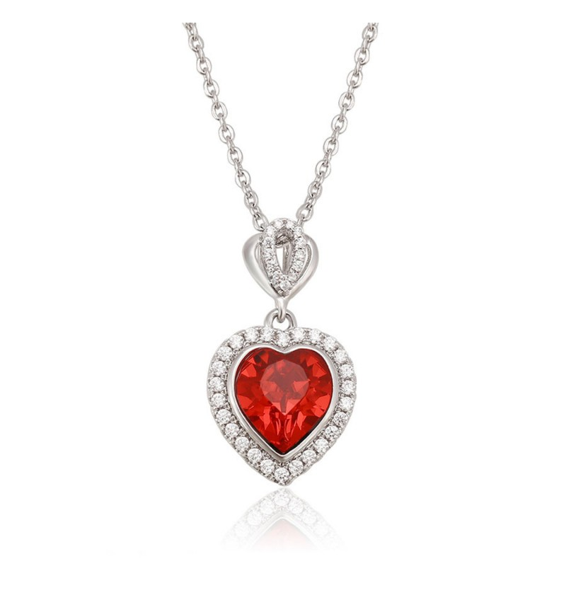 Позолочене кольє з кристалами SWAROVSKI red heart