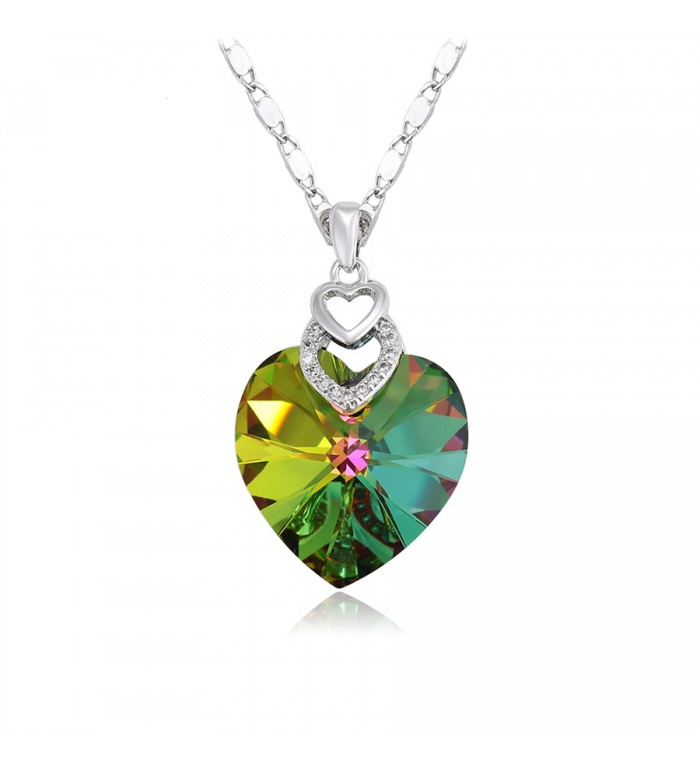 Позолочене кольє з кристалами SWAROVSKI color heart