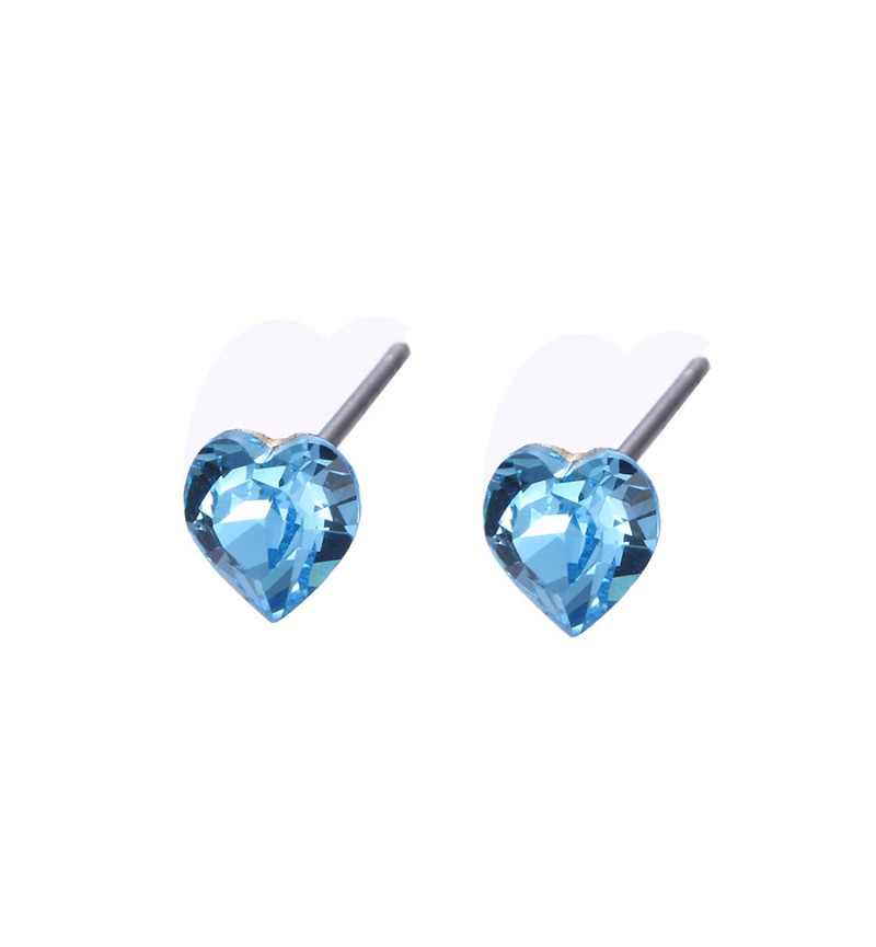 Позолоченные серьги с кристаллами SWAROVSKI small hearts blue