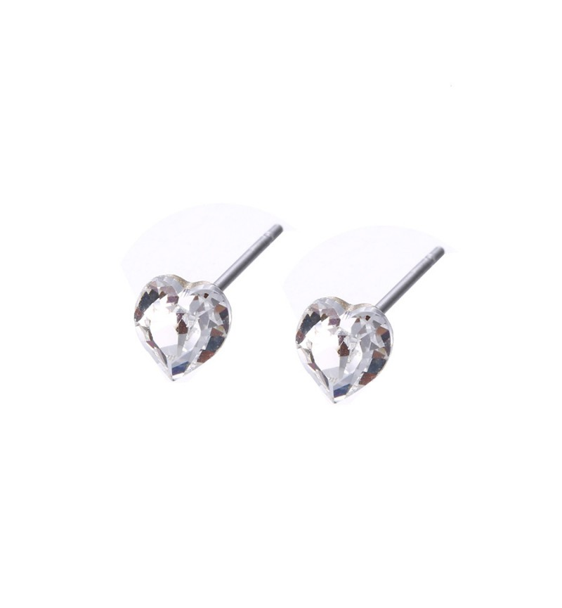 Позолоченные серьги с кристаллами SWAROVSKI small hearts white