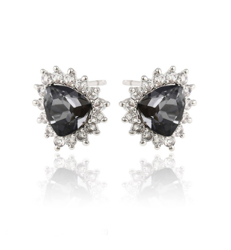 Позолоченные серьги с кристаллами SWAROVSKI Begin black