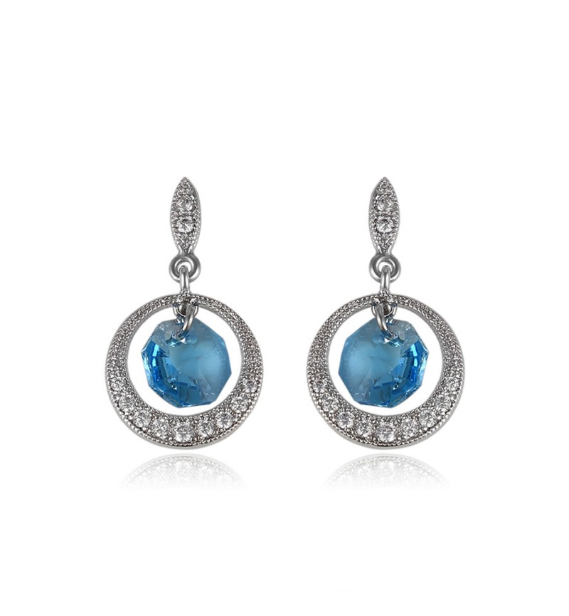 Позолоченные серьги с кристаллами SWAROVSKI Angel light blue