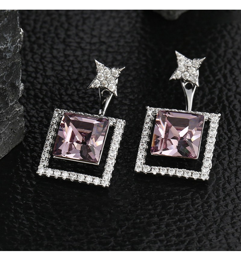 Позолоченные серьги с кристаллами SWAROVSKI purple 2в1