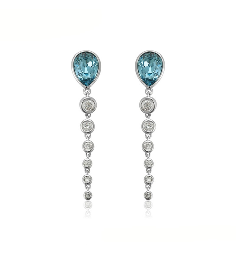 Позолоченные серьги с кристаллами SWAROVSKI ADORE light blue