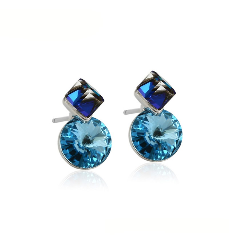 Позолоченные серьги с кристаллами SWAROVSKI little blue